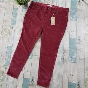 Madewell High Rise Skinny Jeans Velvet 35 Petite